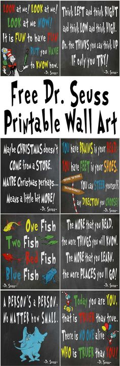 Free Dr. Seuss printables for decorating a classroom, nursery, day care, library…