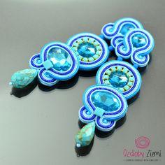 Clip on Long Blue Soutache Earrings - Long Unique Blue Glossy Earrings - Unique Sparkling Earrings - Orecchini Soutache - Clip on Earrings by OzdobyZiemi on Etsy
