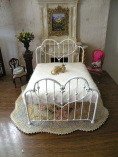 "Dollhouse Miniature 1:12 Scale Artisan Un-dressed Wrought Iron Twin Bed ""Caroline"""
