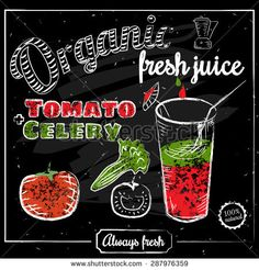 A glass of fresh organic tomato juice and celery, drawn in chalk on a blackboard, vector illustration