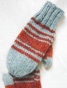 Get out that extra yarn and prepare for the Simple Stashbuster Mittens. The stripes in this cute knit mittens pattern are the perfect way extra yarn. Easy Knitting, Knitting Needles, Knitting Patterns Free, Knitting Yarn, Knitting Machine, Hat Patterns, Stitch Patterns, Kids Knitting, The Mitten