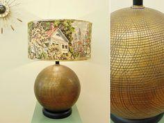 Vintage Round Ceramic Table Lamp, Mid Century, Bronze Colored Textured Surface, MCM Lighting, Black Wood Base, Large Spherical