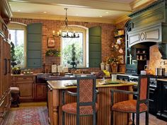 Image result for fireplace red brick kitchen