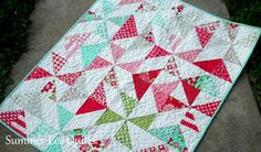 Modern Baby Girl Quilt - Vintage Modern Quilt - Baby Quilt in Red, Pink, Aqua, Green, and Grey - One of a Kind - Ready to Ship. $164.99, via Etsy.