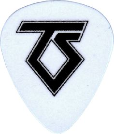 """Unique and Custom """".76 MM Thick - Medium Gauge Hard Plastic - Round Tip"""" Guitar Pick with Twisted Sister Rock Band TS Logo {White and Black - Single Pick}"""