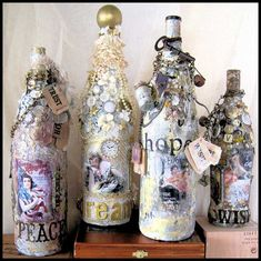 Ooooooh, the inspiration I see......Mixed Media Altered Art Bottles with Carol Murphy