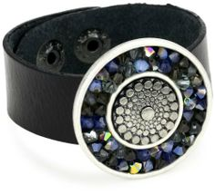 "Liz Palacios ""Circulo"" Black Thin Leather Rock Crystal Circle Cuff Bracelet Liz Palacios. $47.99. Black leather thin cuff with silver plated center filled with. Made in United States. Sapphire Swarovski crystals and decorative center"