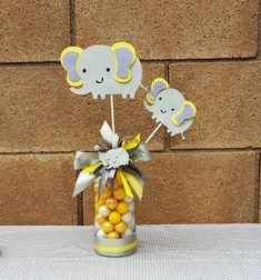 Elephant centerpieces pick/ elephant baby shower/ elephant yellow and gray #Handmade #BirthdayChildBabyshower