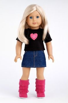 Rock Star - 3 piece outfit includes t-shirt, denim skirt and hot pink boots - American Girl Doll Clothes Price : $23.97 http://www.dreamworldcollections.com/Rock-Star-t-shirt-American-Clothes/dp/B00CW6F2US