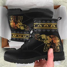 Check out our golden mandala elephant boots! More than 500 reviews on our site!