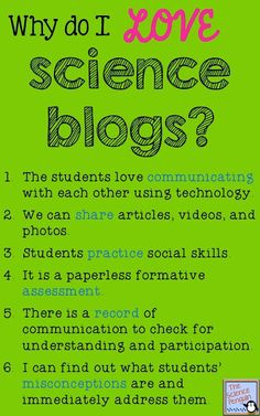 Starting Student Science Blogs! Blogs for beginners and blogs for kids are a great way to actively engage students.