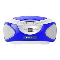 Ematic CD Boombox with Bluetooth Audio & Speakerphone - Blue. The Ematic CD Boombox with Bluetooth Audio & Speakerphone lets you enjoy great sound from CDs, your smartphone, or the rad Bluetooth, Audio, Stereo Speakers, Boombox, Ebay, Connect, Smartphone, Conference, Radio Stations