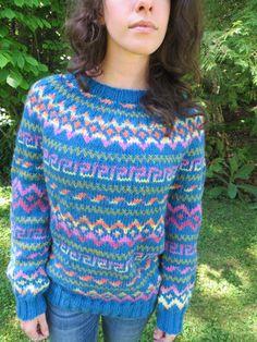 Handknit woman's teal sweater with fair isle by Jesoroknits