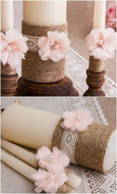 Rustic Twine And Lace Unity Candle