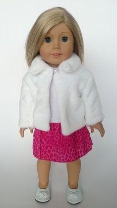 Chaqueta de peluche Blanca para muñecas AmericanGirl
