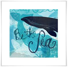 Be The Sea, Beach & Ocean Art Prints | Greenbox  Magnificent whales, the giants of the sea, grace this blue hued giclee paper print by Barbara Chotiner.   A beautiful + unique art print for your home; your beach house; your condo; or your apartment.  Giclee method of printing is the highest quality reproduction method available & use premium archival paper. Non-toxic inks stay brilliantly colored for years. / #HomeDecor #WallArt #WallArt #NauticalWallArt #BeachHouse