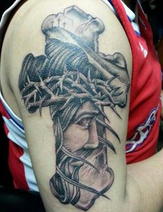 Jesus Cross Tattoo, traditional style done by Frank the shop's owner @AmazingGraceTattoo
