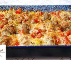 Tepsis krumpli húsgolyókkal recept   Mindmegette.hu Lasagna, Quiche, Breakfast, Ethnic Recipes, Food, Bulgur, Morning Coffee, Essen, Quiches