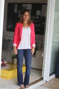 Look do dia casual day jeans regata branca blazer pink chris castro