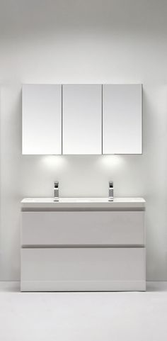 White Double Sink Vanity Unit Modern Contemporary Wall Mounted High Density MDF in Home, Furniture & DIY, Bath, Sinks | eBay
