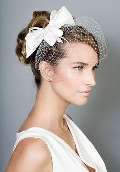 R1410 - Silk triple bow headdress with beading and veil - Rachel Trevor-Morgan