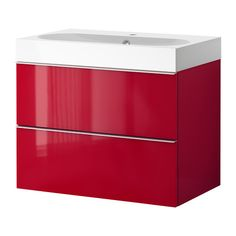 GODMORGON/ BRÅVIKEN Sink cabinet with 2 drawers, high gloss red $429.00 The price reflects selected options Article Number: 999.032.22 10-ye...