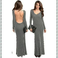 """Dress backless open back long sleeves maxi stripe New. Black  and white. Form fitting. Striped pattren. Open back.backless dress. long sleeves. Flare hem MEDIUM WEIGHT. jersey stretchy fabric. Material content ;78% RAYON 26% POLYESTER 4% SPANDEX MEASUREMENTS:   Total Length=58"""" Sleeves length 24""""   Size: Small Bust: 30-34"""" Waist: 24-28"""" Hips: 32-36""""  Size: Medium Bust: 32-36""""Waist: 26-30"""" Hips: 34-38""""  Size: Large Bust: 34-38"""" Waist: 28-32"""" Hips: 36-40"""" Boutique  Dresses"""