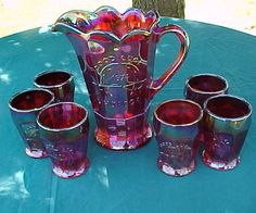 Blue Carnival Glass | ... Good Luck Pitcher and Tumbler set made by Indiana Glass in in 1974