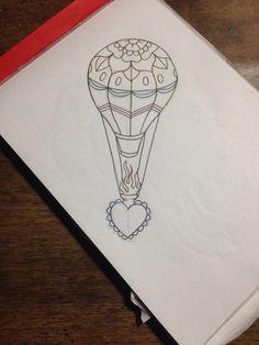 traditional tattoo flash #tattoo flash # old school tattoo #heart tattoo #hot air ballon tattoo