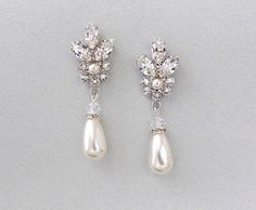 Bridal Pearl Earrings created with Swarovski crystals and drop pearls.