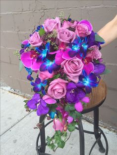 Showstopping purple and blue bridal bouquet with roses and orchids Blue Orchid Bouquet, Blue And Purple Orchids, Bridal Bouquet Blue, Flower Bouquet Wedding, Blue Bridal, Beautiful Flower Arrangements, Floral Arrangements, Pretty Flowers, Beauty And Beast Wedding