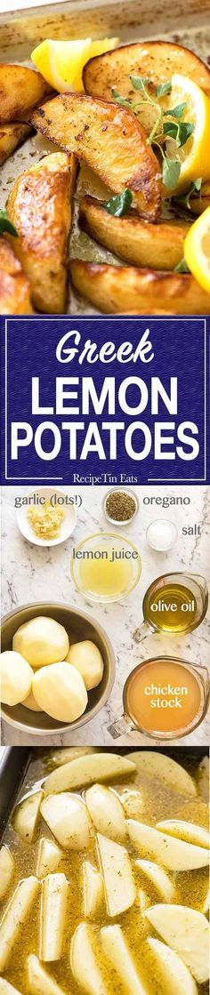 Greek Lemon Potatoes - The idea with these potatoes is that they are cooked in a garlic oregano broth so it sucks up all the flavour, then transferred to a tray to crisp up. Vegetable Side Dishes, Vegetable Recipes, Vegetarian Recipes, Cooking Recipes, Easy Cooking, Greek Recipes, Side Dish Recipes, Fruit Recipes, Potato Recipes