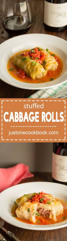 Delicious and savory Japanese-Style Stuffed Cabbage Rolls served in a delicate tomato-based sauce. It's a perfect meal to share with a crowd on a cold day! Japanese Dishes, Japanese Food, Japanese Recipes, Small Cabbage, Sushi, Cabbage Rolls, Ground Meat, Chicken And Vegetables, Asian Recipes