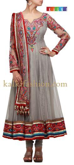 Buy it now http://www.kalkifashion.com/grey-anarkali-dress-with-resham-thread-work.html Grey anarkali dress with resham thread work