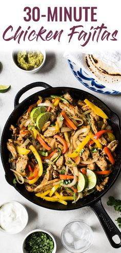 Limited on time? Make these healthy and easy Chicken Fajitas in only 30 minutes for a quick and delicious Mexican dinner tonight! Mexican Cooking, Mexican Food Recipes, Mexican Dinners, Quick Easy Meals, Healthy Dinner Recipes, Easy Chicken Fajitas, Healthy Crockpot Recipes, Chicken Recipes, Chicken Menu