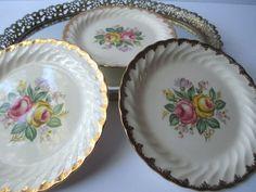 Vintage Royal Quban Rose Bread & Butter Plates Set by jenscloset