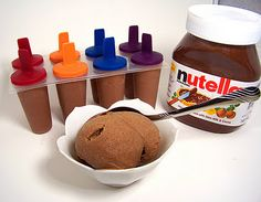 "Nutella ""Ice Cream""...1 Cup Nutella and 6 bananas...That's it. You can add cinnamon or cocoa powder if you want but it isn't needed. Throw the two ingredients into a blender or food processor and blend till very smooth.  Pour into a freezer safe container or individual popsicles..."