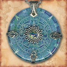 Teal Aztec Mayan Calendar Necklace - Symbolz - The Ancient Mysteries | TzaddiShop - Jewelry on ArtFire