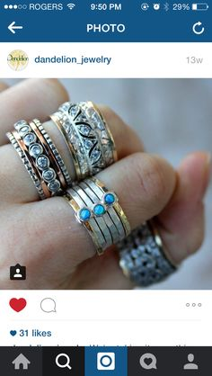 Love this photo from our retailer Dandelion Jewelry! Spin & Wish Meditation Rings, Dandelion, Jewelry Design, Silver Rings, Bling, Wedding Rings, Jewels, Engagement Rings, Jewellery
