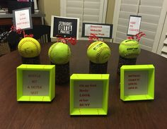 Softball Centerpieces & Mini-frame Quotes Party Favors