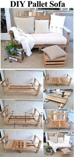 Pallet Furniture Ideas Crate and Pallet DIY Pallet Sofa - DIY outdoor furniture projects aren't just for the crafty or budget-conscious, they allow a refreshing degree of originality.Find the best designs! Diy Pallet Sofa, Pallet Couch Outdoor, Diy Sofa, Pallet Bench, Pallet Seating, Pallet Crates, Outdoor Seating, Outdoor Spaces, Palette Diy