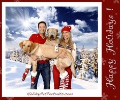 Christine Avanti and Jonathan Fischer with dogs at Christmas