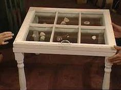 love old windows reused as tables, picture frames, mirrors or cabinet fronts. They can be reused in amazing and creative ways (love picture frames shadow box) Diy Shadow Box, Shadow Box Frames, Window Frames, Window Ideas, Furniture Projects, Diy Furniture, Diy Projects, Window Table, A Table
