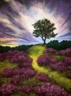 Felted Artwork-Original felted landscapes by Tracey McCracken Palmer. Wet felting and needle felting techniques are used to create beautiful works of art. Landscape Quilts, Landscape Art, Felt Wall Hanging, Felt Pictures, Needle Felting Tutorials, Wool Art, Nuno Felting, Felt Art, Felt Animals