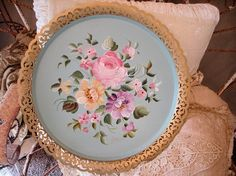Antique Tole Tray Roses Pinks Seafoam Green