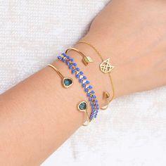 Majolie - Duo Iris Blue Night Gold cat Bracelet