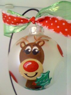 """Rudolph handpainted 4"""" glass ornament  Fancy That!"""