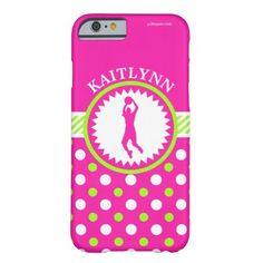 Golly Girls Personalized Basketball Pink - Green Polka-Dots Barely There iPhone 6 Case