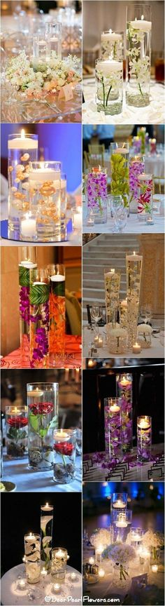 24 Best Flower Table Centerpieces Ideas to Make Beauty Weddi.- 24 Best Flower Table Centerpieces Ideas to Make Beauty Wedding Decoration – weddingtopia 24 Best Flower Table Centerpieces Ideas to Make Beauty Wedding Decoration – weddingtopia - Candle Wedding Centerpieces, Wedding Decorations, Table Decorations, Centerpiece Ideas, Banquet Centerpieces, Diy Flower Centerpieces, Submerged Centerpiece, Cylinder Centerpieces, Submerged Flowers