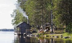 Sauna by a lake Finland Lake Cabins, Cabins And Cottages, Sauna Design, Design Design, Interior Design, Natural Swimming Pools, Natural Pools, Finnish Sauna, Pool Landscaping
